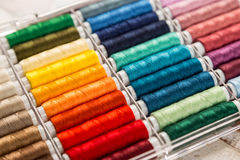 Colorful sewing cottons Royalty Free Stock Images