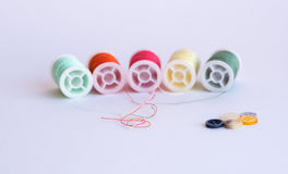 Colorful sewing thread reels Stock Photos