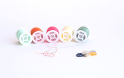 Colorful sewing thread reels Stock Image