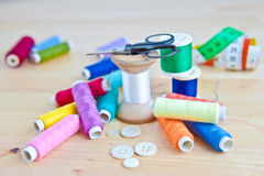 Colorful sewing utensils Royalty Free Stock Image