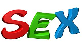 Colorful SEX. SEX in colofrul letters on a white background Royalty Free Stock Photo