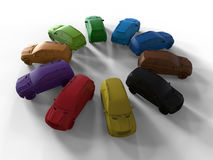 Colorful shaded cars. 3D render illustration of multiple colorful cars arranged in a circular pattern. The composition is on a white background with shadows vector illustration
