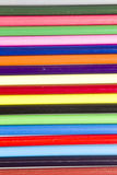 Colorful shafts of bright coloring pencils. Collection of colorful cylindrical wooden coloring pencils Stock Photo