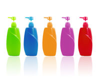 Colorful shampoo bottle with pump Stock Image