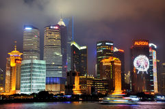 Colorful Shanghai night in Pu-dong area, China Stock Images