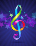 Colorful shape of treble clef. Multicolored glossy ribbons in the shape of treble clef Royalty Free Stock Photography
