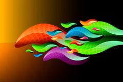 Colorful shapes. Like snakes or whales Royalty Free Stock Images