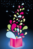 Colorful shapes come out from open gift box - Stock Illustration Stock Image