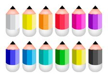 Colorful Sharpened Pencil Icons on White Backgroun Royalty Free Stock Photos