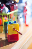 Colorful sharpener pencil Stock Photo