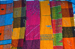 Colorful shawls in India market, Delhi bazaar Stock Photos