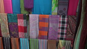 Colorful shawls in market, India Stock Photo