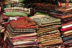 Colorful shawls and scarfs Royalty Free Stock Photography