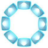 Colorful shelf light boxes arranged in a circle Stock Photography