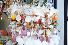 The colorful shell curtain made from shells decoration Stock Photography