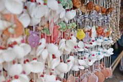 Colorful Shell Curtain. Stock Photo