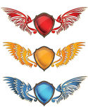 Colorful shield. Design with demon and angel  wings Royalty Free Stock Photos