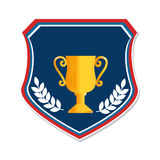 Colorful shield with trophy cup and olive branchs Royalty Free Stock Photos
