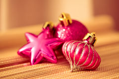 Colorful shining Christmas ornaments Stock Photo