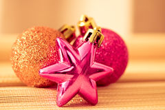 Colorful shining Christmas ornaments Stock Images