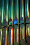 Colorful shining organ tubes in church Stock Image