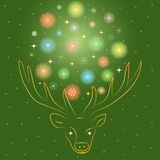Colorful Shinning Snowflakes Arranged in a Shape of a Circle Between Deer`s Horns. Hand Drawn Golden Silhouette of Reindeer Royalty Free Stock Image