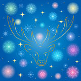 Colorful Shinning Snowflakes and Golden Stars. Hand Drawn Golden Silhouette of Reindeer on Blue Background. Perfect for Festive Design. Vector illustration Royalty Free Stock Image