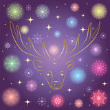Colorful Shinning Snowflakes and Golden Stars. Hand Drawn Golden Silhouette of Reindeer on Night Sky. Perfect for Festive Design. Vector Illustration Royalty Free Stock Photos