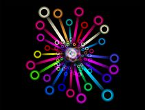 Colorful Wheel Abstract  on black backround. Colorful Shiny bubbles of colors Wheel Abstract  on black Background Royalty Free Stock Photography