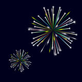 Colorful shiny fireworks on black background. Eps10 Stock Image