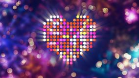 Colorful shiny heart shape and fireworks on background. Computer generated abstract holiday image Royalty Free Stock Photography