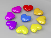 Colorful shiny hearts Royalty Free Stock Image