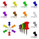 Colorful shiny pins paper on a white background is Stock Photo