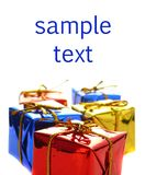 Colorful shiny presents. Colorful, shiny presents and the place for sample text stock photos
