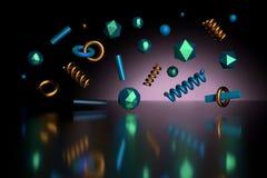 Colorful shiny primitives flying over dark reflective surface royalty free illustration