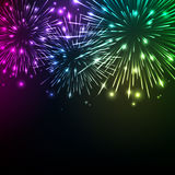 Colorful shiny realistic fireworks background Stock Photos