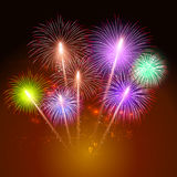 Colorful shiny realistic fireworks bunch background for new year and 4th of july. Colorful shiny realistic fireworks bunch background for new year and 4th of Royalty Free Stock Photo