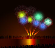 Colorful shiny realistic fireworks bunch background for new year and 4th of july. Colorful shiny realistic fireworks bunch background for new year and 4th of Stock Image