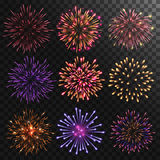 Colorful shiny realistic fireworks set. Vector illustration. Celebration holiday design Royalty Free Stock Image