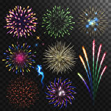 Colorful shiny realistic fireworks set. Vector illustration. Celebration holiday design Stock Photography