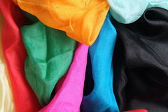 Colorful shiny silk handkerchiefs Royalty Free Stock Photography