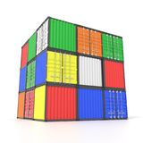 Colorful ship cargo containers. Stacked on top of each other in a cube form. Marine olgistics, harbor warehouse, customs, transport shipping concept. 3D Stock Image