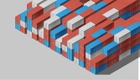 Shipping Cargo Containers for Logistics and Transportation. Colorful Shipping Cargo Containers for Logistics and Transportation. Isometric view Royalty Free Stock Images