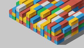 Shipping Cargo Containers for Logistics and Transportation. Colorful Shipping Cargo Containers for Logistics and Transportation. Isometric view Royalty Free Stock Image