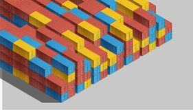 Shipping Cargo Containers for Logistics and Transportation. Colorful Shipping Cargo Containers for Logistics and Transportation. Isometric view Stock Images