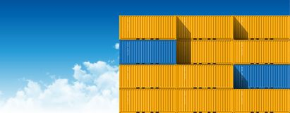 Shipping Cargo Containers for Logistics and Transportation. Colorful Shipping Cargo Containers for Logistics and Transportation. Perspective view Stock Image
