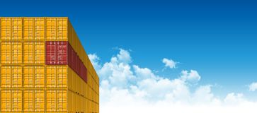 Shipping Cargo Containers for Logistics and Transportation. Colorful Shipping Cargo Containers for Logistics and Transportation. Perspective view Royalty Free Stock Photo