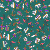 Colorful Ships and Aircrafts Transports Seamless Pattern Vector. Illustration Stock Photo