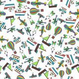 Colorful Ships and Aircrafts Transports Seamless Pattern Vector. Illustration Stock Images