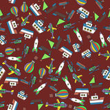 Colorful Ships and Aircrafts Transports Seamless Pattern Vector. Illustration Royalty Free Stock Image
